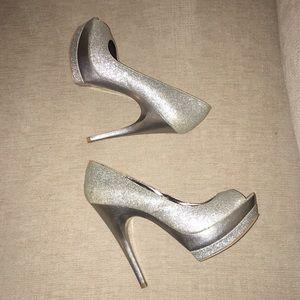 Silver sparkly platform heels